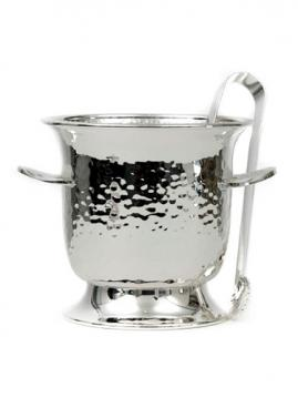 SILVER PLATED ICE BUCKET,HAMMERED  WITH ICE TONGUE