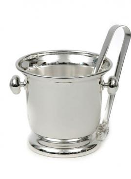 SILVER PLATED ICE BUCKET WITH ICE TONGUE