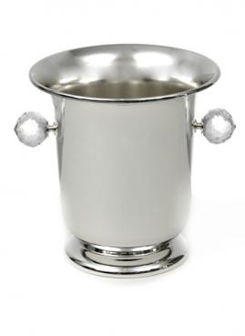 SILVER PLATED CHAMPAGNE BUCKET WITH CRYSTAL HANDLES