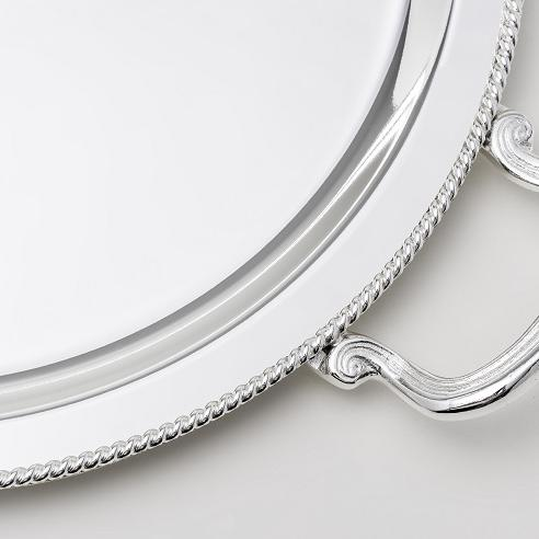 SILVER PLATED TRAY , OVAL , D. 36 X 23 CM WITH DECOR ''ROPE''