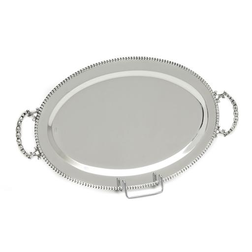 SILVER PLATED TRAY, OVAL , 36 X 23 CM WITH DECOR