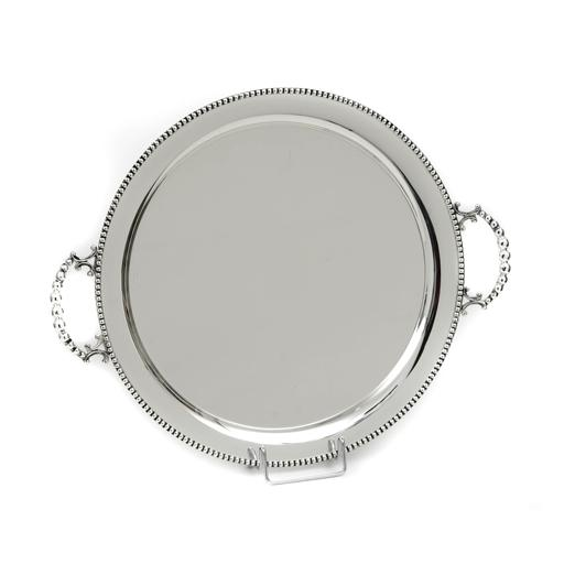 SILVER PLATED TRAY , ROUND , D.40 CM WITH DECOR ''PEARL''