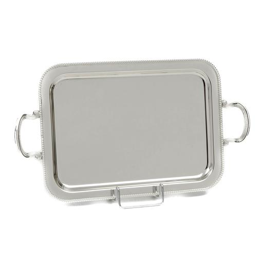 SILVER PLATED TRAY, RECTANGULAR ,DIMENSION 43 X 33 CM WITH DECOR