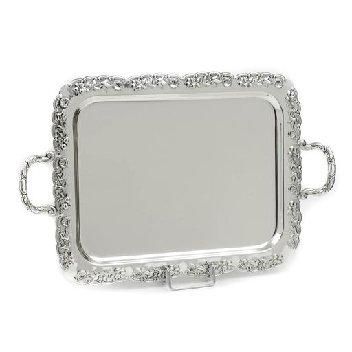 SILVER PLATED TRAY , RECTANGULAR, DIMENSIONS 43X33CM WITH FLORAL DECOR