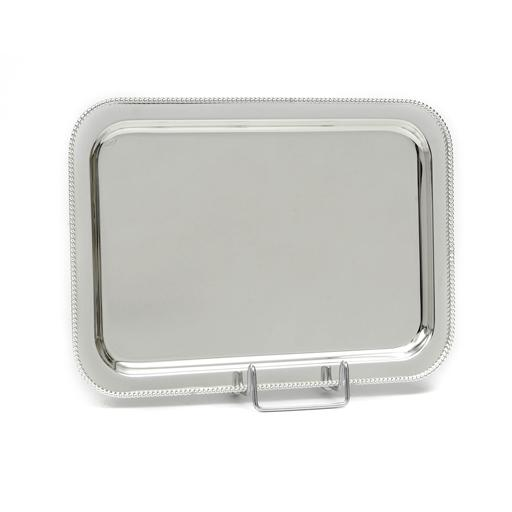 SILVER PLATED TRAY , RECTANGULAR , DIMEMSIONS 43X33CM WITH DECOR