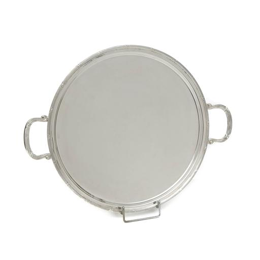 SILVER PLATED TRAY , ROUND, DIMENSION 35 CM WITH DECOR  ''RIBBON''