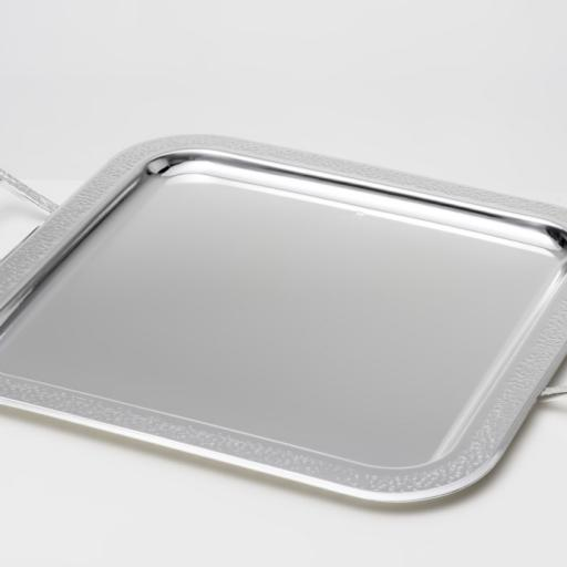 SILVER PLATED TRAY SQUARE , DIMENSION 40 X 40 CM