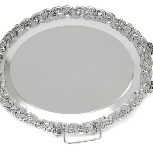 SILVER PLATED TRAY OVAL , DIMENSION 48X35 CM WITH